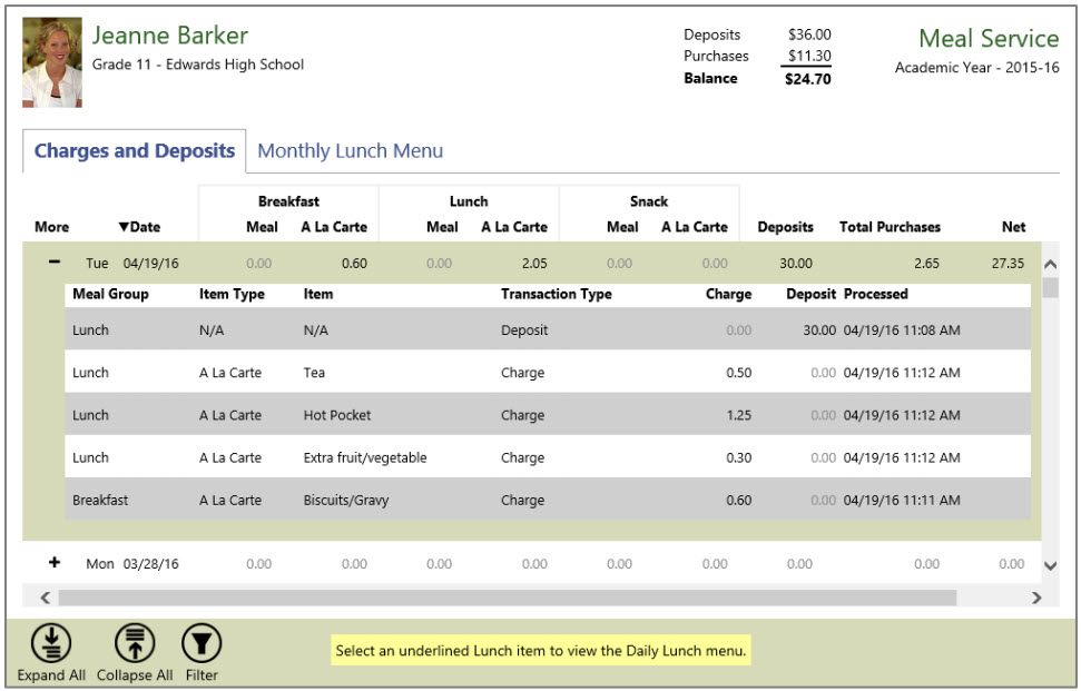 Tyler SIS Meal Service page